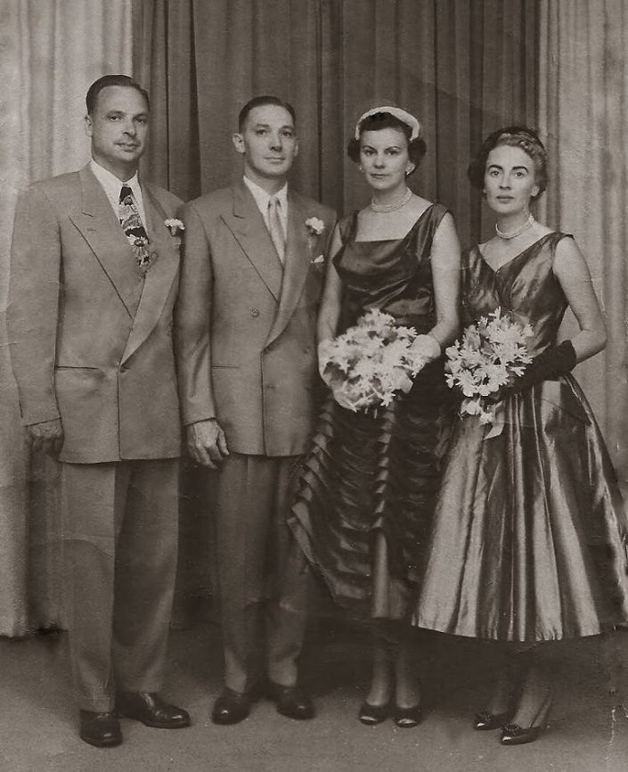 1955 - Dad, Bert & Grace, Mom @ Grace & Berts Wedding-001